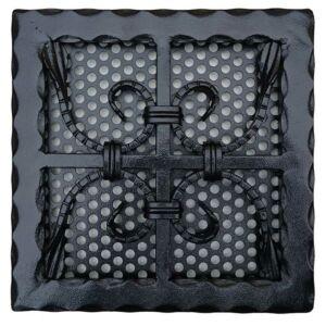 Kovácsoltvas kandalló szellőzőrács - 250×250 mm - fekete