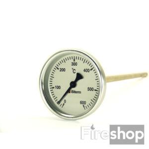 Kemencehőmérő, 0-600˚C-os, 6cm-es, menet nélkül