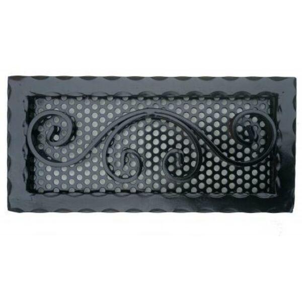 Kovácsoltvas kandalló szellőzőrács - 380×180 mm - fekete