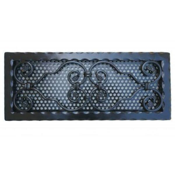 Kovácsoltvas kandalló szellőzőrács - 500×205 mm - fekete