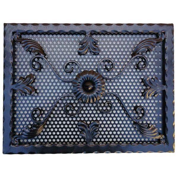 Kovácsoltvas kandalló szellőzőrács - 500×380 mm - fekete