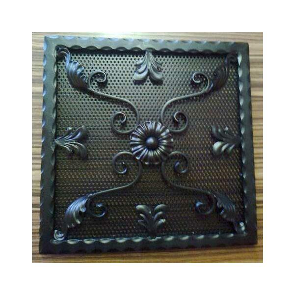 Kovácsoltvas kandalló szellőzőrács - 500×500 mm - fekete