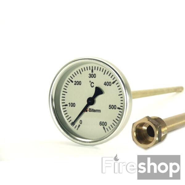 Kemencehőmérők, 0-600C-os, 6cm-es, védőcsővel