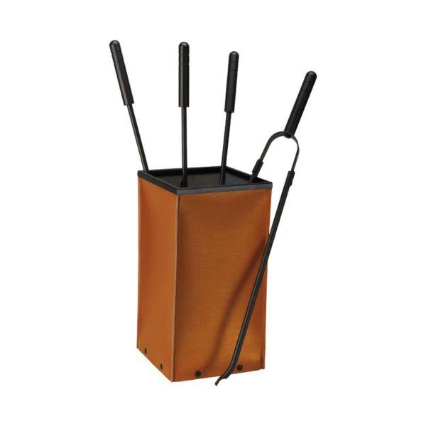 Fox Cognac bőr kandalló készlet