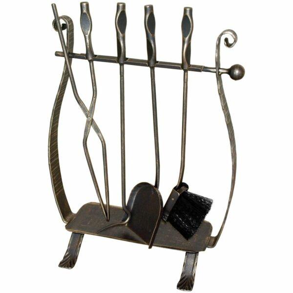 Harfa kovácsoltvas kandalló készlet